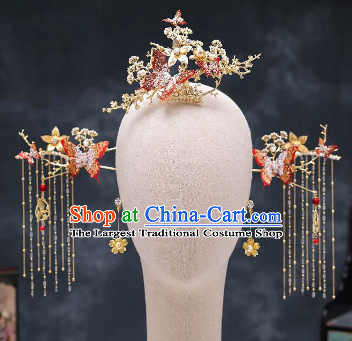 Chinese Ancient Palace Hair Accessories Hairpins Traditional Bride Red Crystal Butterfly Phoenix Coronet for Women