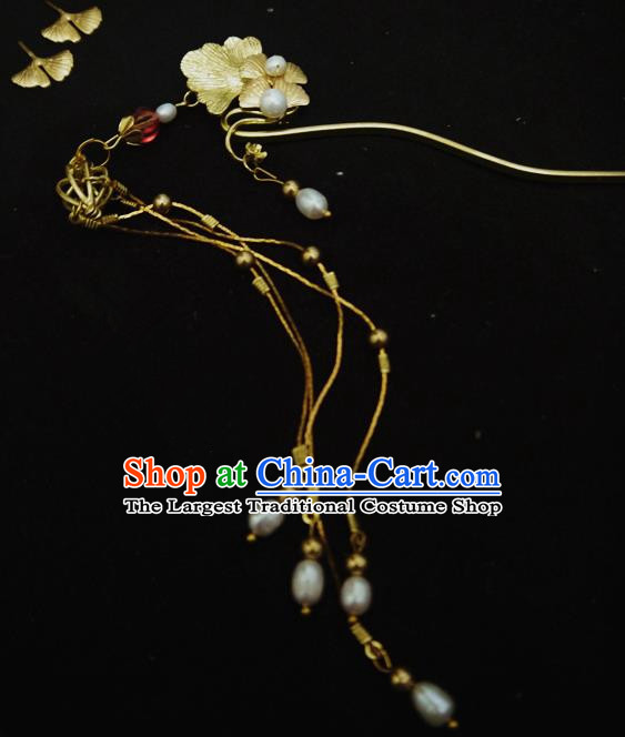Chinese Ancient Hair Accessories Traditional Bride Hanfu Pearls Tassel Ginkgo Hairpins for Women