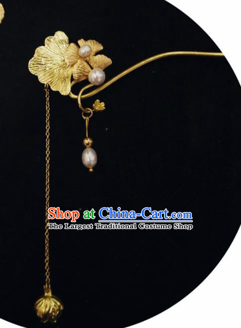 Chinese Ancient Hair Accessories Traditional Bride Hanfu Golden Ginkgo Tassel Hairpins for Women