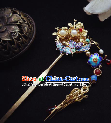 Chinese Ancient Hair Accessories Blueing Hair Clip Traditional Bride Hanfu Hairpins for Women