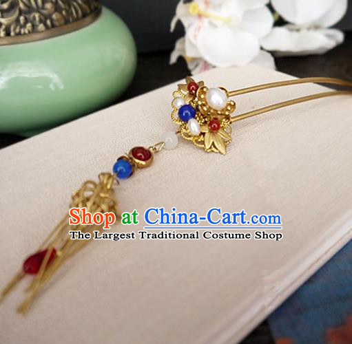 Chinese Ancient Hair Accessories Classical Agate Hair Clip Traditional Bride Hanfu Hairpins for Women