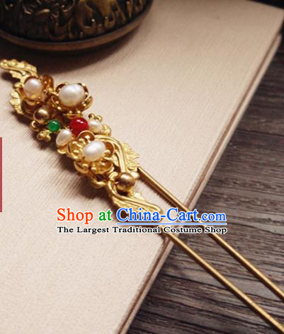Chinese Ancient Hair Accessories Classical Pearls Golden Hair Clip Traditional Bride Hanfu Hairpins for Women