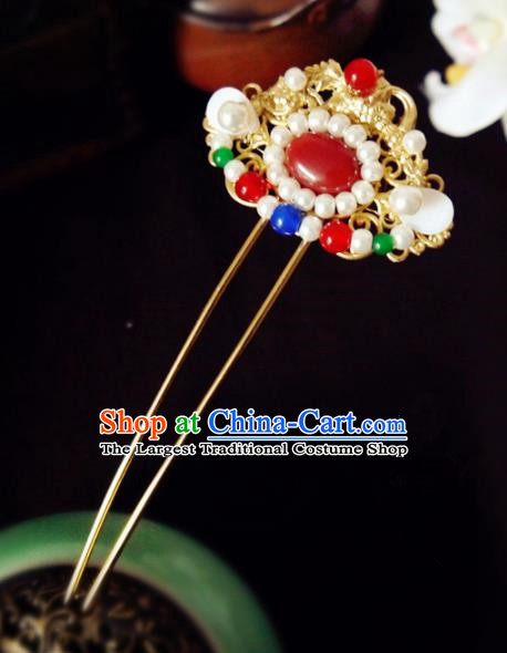 Chinese Ancient Hair Accessories Classical Pearls Agate Hair Clip Traditional Hanfu Hairpins for Women
