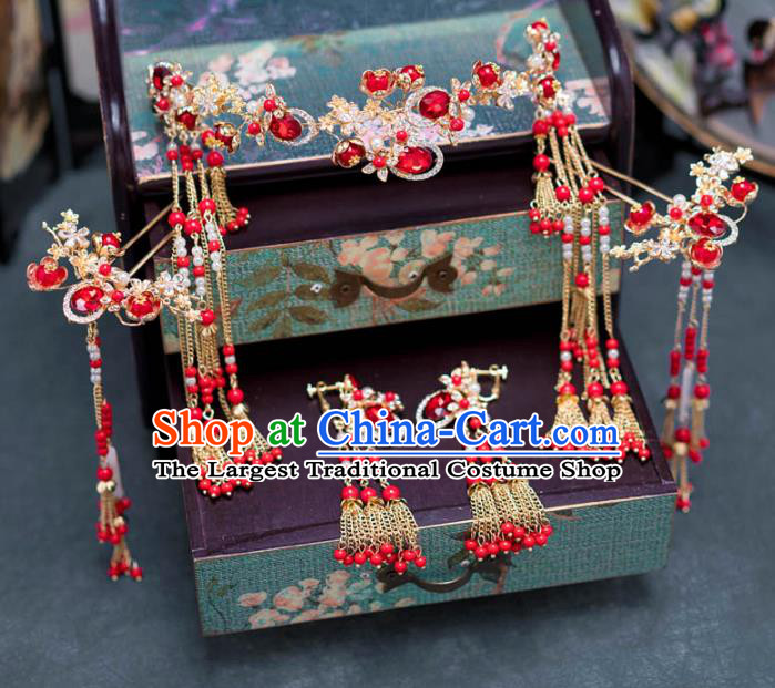 Chinese Ancient Palace Hair Accessories Hairpins Traditional Bride Red Crystal Hair Clasp for Women