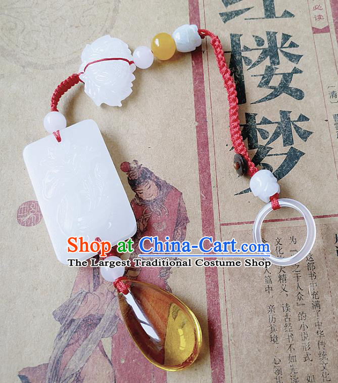Chinese Ancient Bride Hanfu Jewelry Accessories Tassel Jade Pendant Traditional Palace Brooch for Women