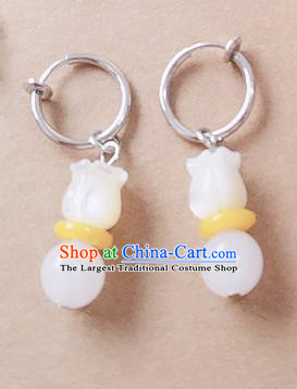 Chinese Ancient Hanfu Jewelry Accessories Traditional Palace Magnolia Earrings for Women