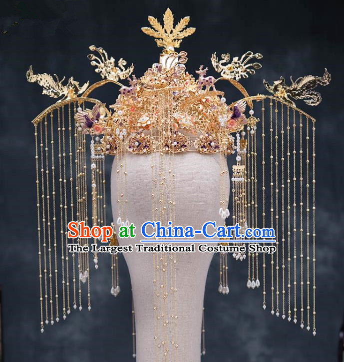 Chinese Ancient Bride Hair Accessories Traditional Wedding Cloisonne Purple Phoenix Coronet Hanfu Hairpins for Women