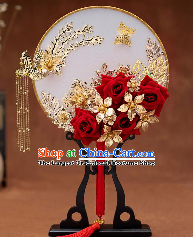 Chinese Ancient Bride Phoenix Tassel Round Fans Traditional Wedding Classical Palace Fans for Women
