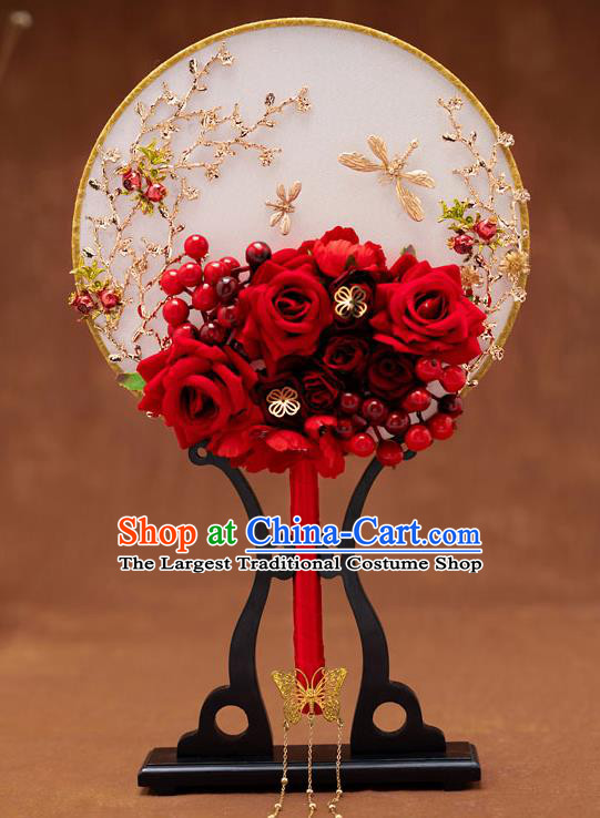 Chinese Ancient Bride Red Roses Round Fans Traditional Wedding Classical Palace Fans for Women