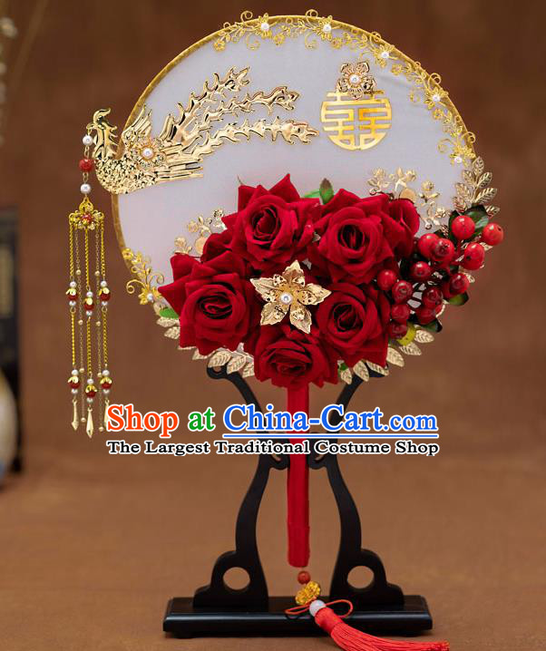 Chinese Ancient Bride Red Roses Round Fans Traditional Wedding Classical Phoenix Palace Fans for Women