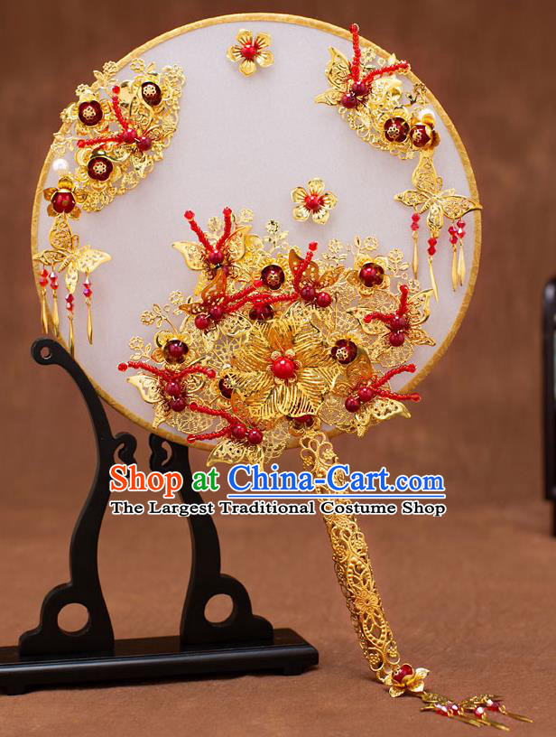 Chinese Traditional Wedding Golden Butterfly Round Fans Classical Ancient Bride Palace Fans for Women