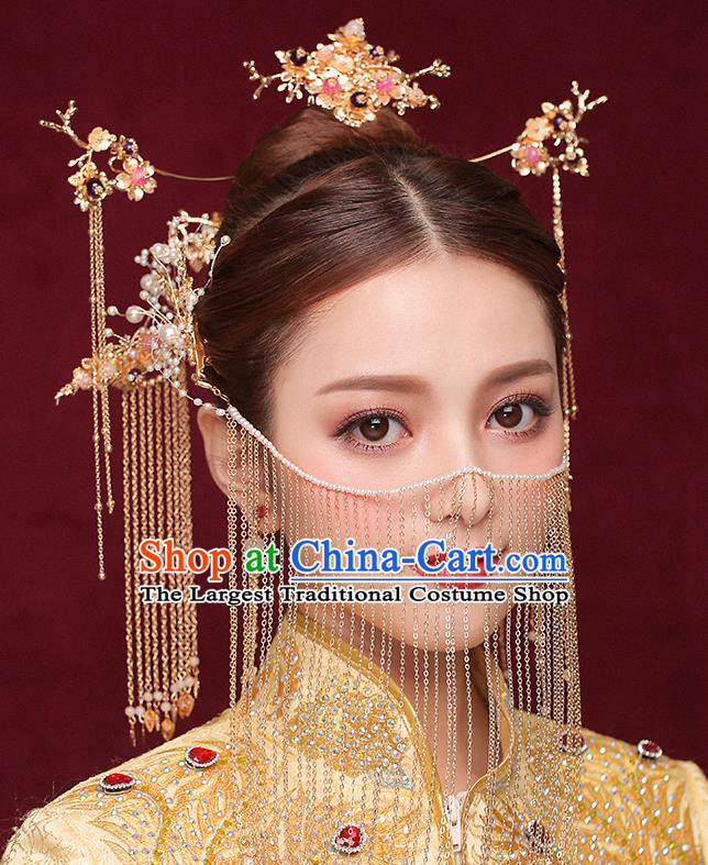 Chinese Ancient Bride Tassel Step Shake Traditional Wedding Hair Accessories Hanfu Hairpins for Women