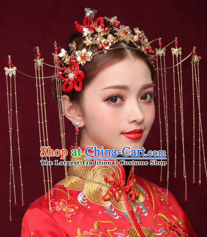 Chinese Ancient Bride Tassel Phoenix Coronet Traditional Wedding Hair Accessories Hairpins for Women