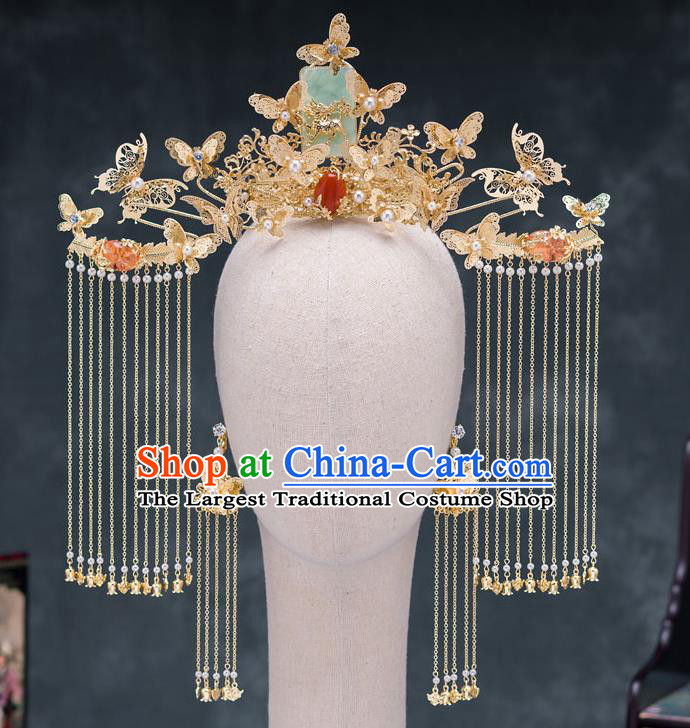 Traditional Chinese Ancient Bride Wedding Jade Phoenix Coronet Hair Accessories for Women