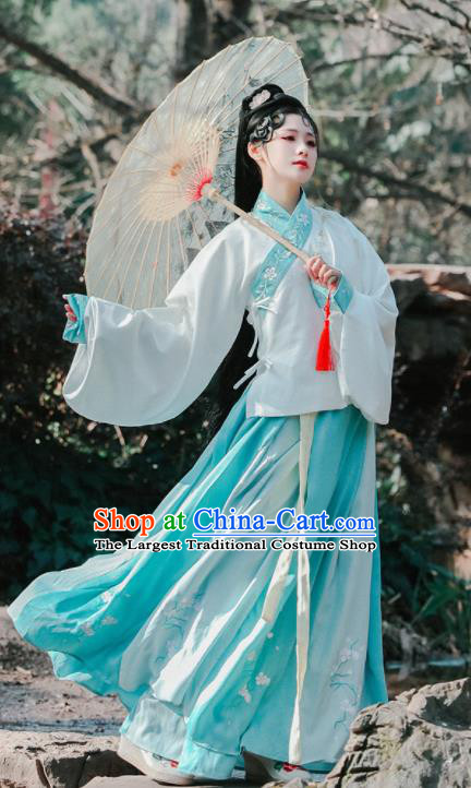 Traditional Chinese Ming Dynasty Female Replica Costumes Ancient Princess Embroidered Hanfu Dress for Women