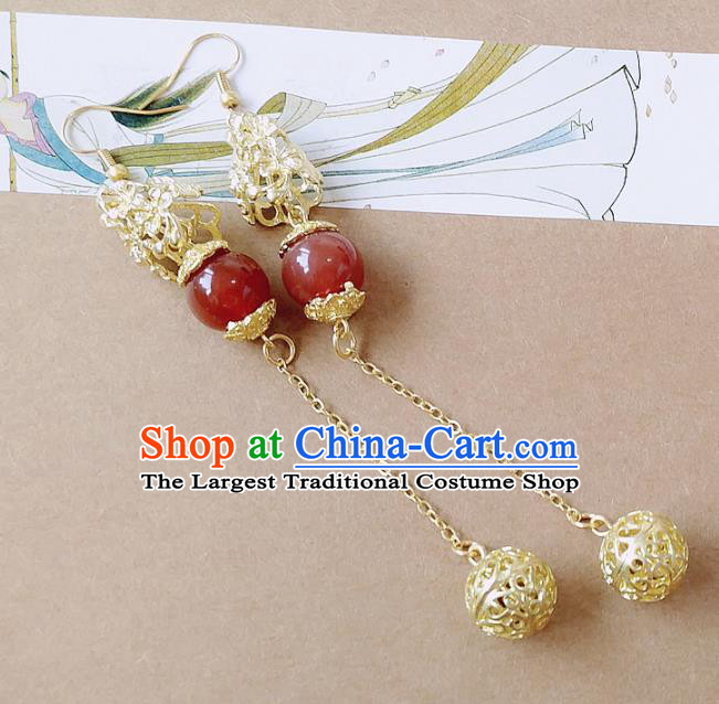 Chinese Ancient Hanfu Jewelry Accessories Traditional Palace Agate Earrings for Women
