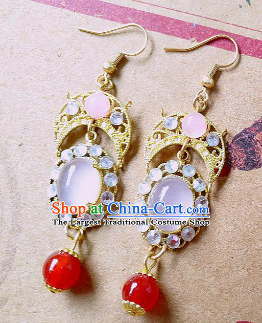 Chinese Ancient Hanfu Jewelry Accessories Traditional Palace Tassel Earrings for Women