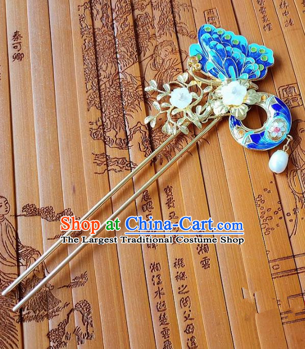 Chinese Ancient Queen Hair Accessories Traditional Hanfu Palace Cloisonne Butterfly Hairpins for Women