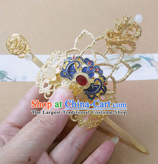 Chinese Ancient Prince Hair Accessories Palace Traditional Hanfu Blueing Hair Crown Hairpins for Men
