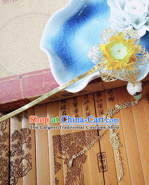 Chinese Ancient Queen Hair Accessories Traditional Hanfu Palace Golden Peony Hairpins for Women