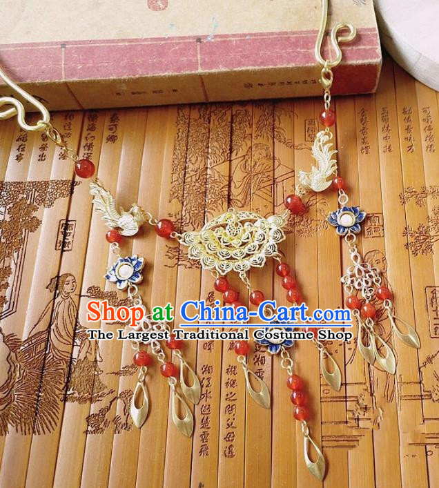 Chinese Ancient Bride Hanfu Accessories Traditional Palace Blueing Necklace for Women