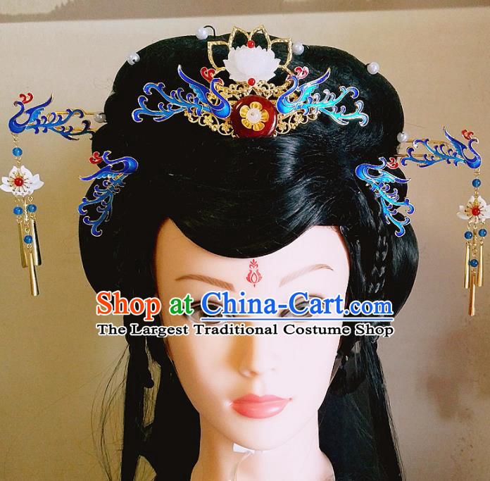 Chinese Ancient Queen Hair Accessories Traditional Hanfu Blueing Phoenix Coronet Hairpins for Women