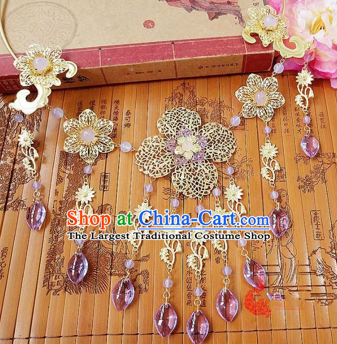 Chinese Ancient Bride Hanfu Accessories Traditional Palace Purple Crystal Tassel Necklace for Women
