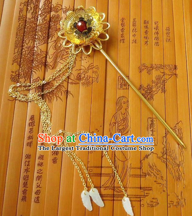 Chinese Ancient Queen Hair Accessories Traditional Hanfu Palace Golden Tassel Hairpins for Women