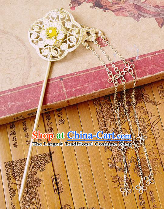 Chinese Ancient Queen Hair Accessories Golden Hairpins Traditional Hanfu Palace Tassel Hair Clip for Women
