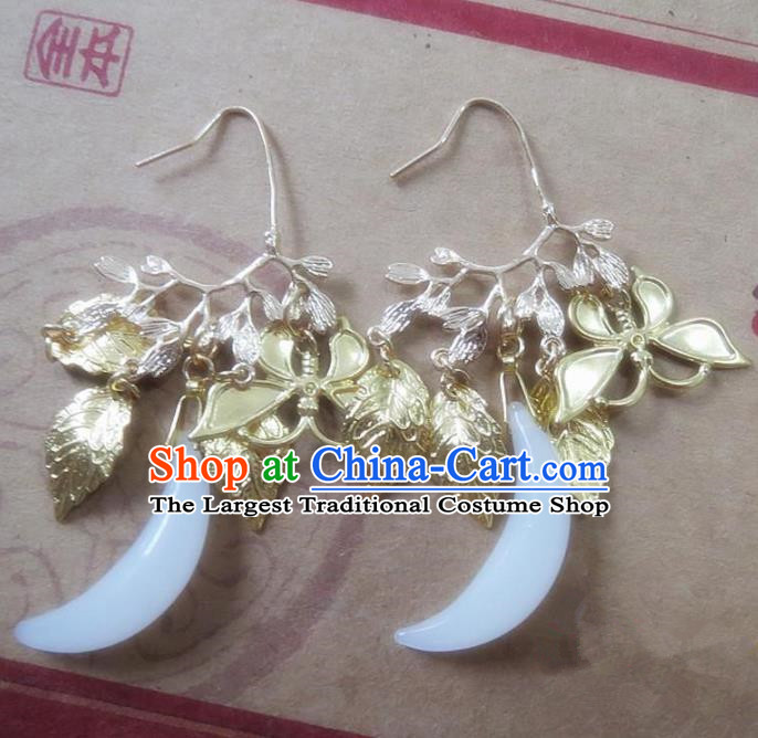 Chinese Ancient Princess Jewelry Accessories Traditional Hanfu Moon Earrings for Women