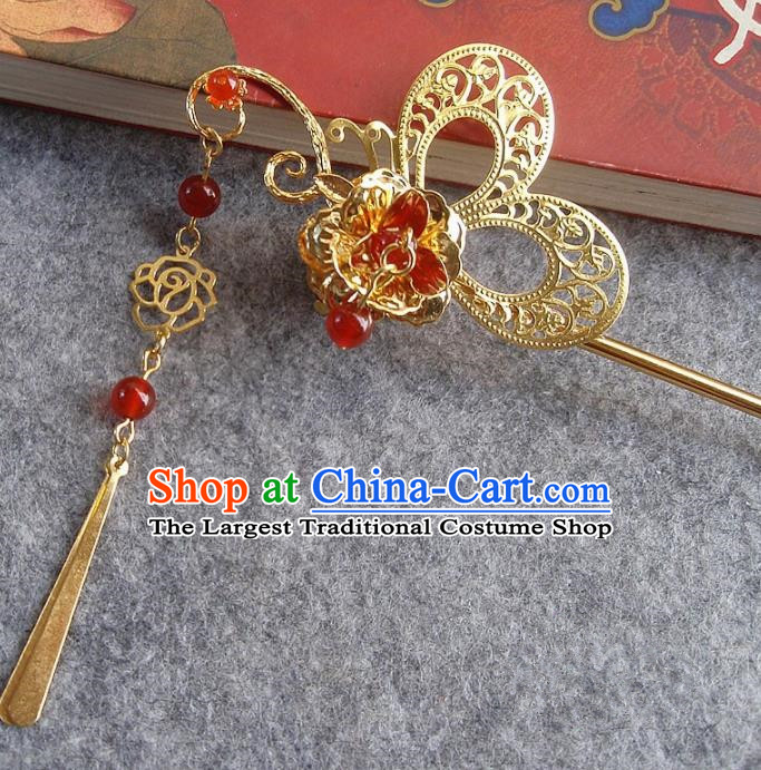 Chinese Ancient Hair Accessories Golden Butterfly Hairpins Traditional Hanfu Palace Hair Clip for Women