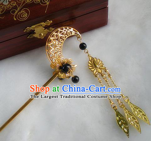 Chinese Ancient Hair Accessories Golden Moon Hairpins Traditional Hanfu Palace Hair Clip for Women