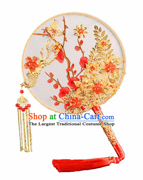 Chinese Traditional Wedding Round Fans Classical Ancient Hanfu Palace Fans for Women