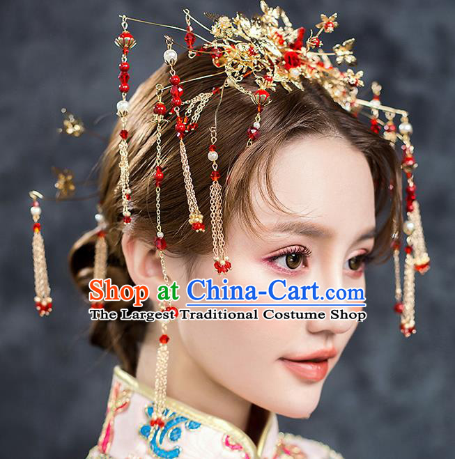 Chinese Ancient Hair Accessories Wedding Tassel Hairpins Traditional Xiuhe Suit Hair Crown for Women