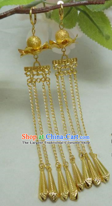 Chinese Ancient Princess Jewelry Accessories Traditional Hanfu Golden Long Tassel Earrings for Women