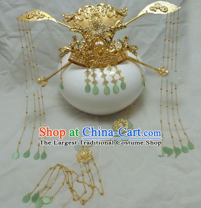 Chinese Ancient Hair Accessories Palace Queen Hairpins Traditional Golden Phoenix Coronet for Women