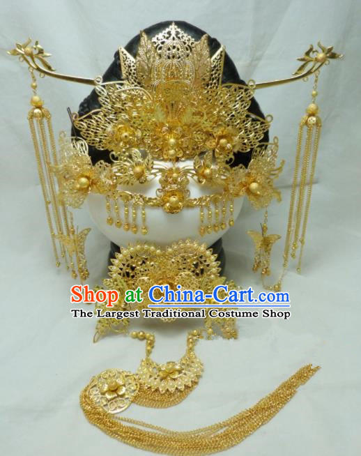 Chinese Ancient Palace Queen Hairpins Hair Accessories Traditional Golden Phoenix Coronet for Women