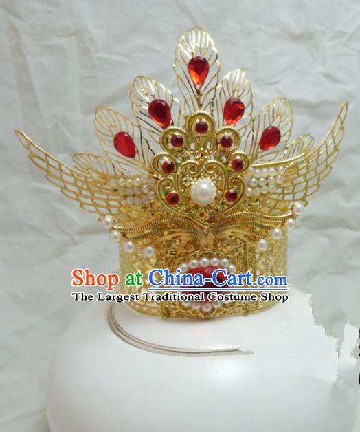 Chinese Ancient Swordsman Hair Accessories Traditional Prince Golden Hair Crown for Men
