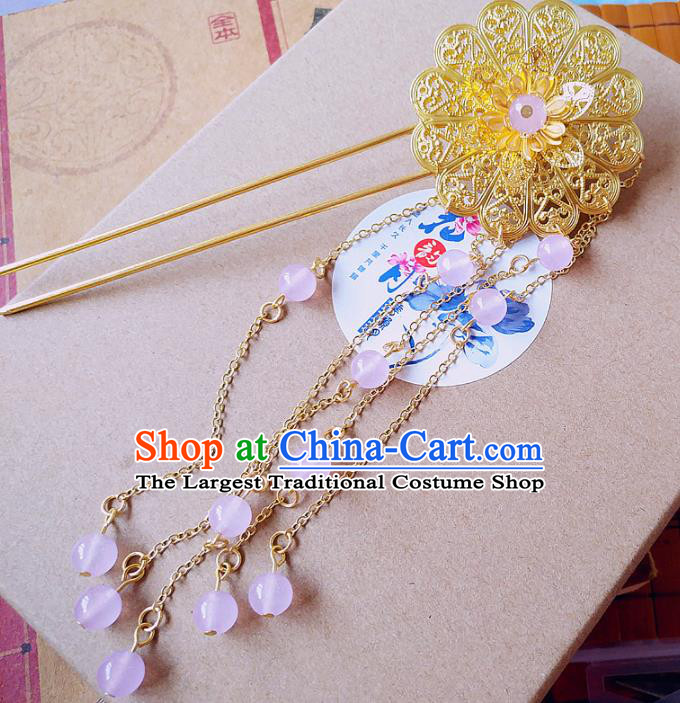 Chinese Ancient Queen Hair Accessories Hairpins Traditional Hanfu Palace Tassel Hair Clip for Women