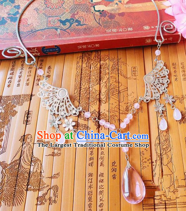 Chinese Ancient Bride Hanfu Accessories Traditional Palace Pink Crystal Necklace for Women