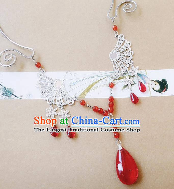 Chinese Ancient Bride Hanfu Accessories Traditional Palace Red Crystal Necklace for Women