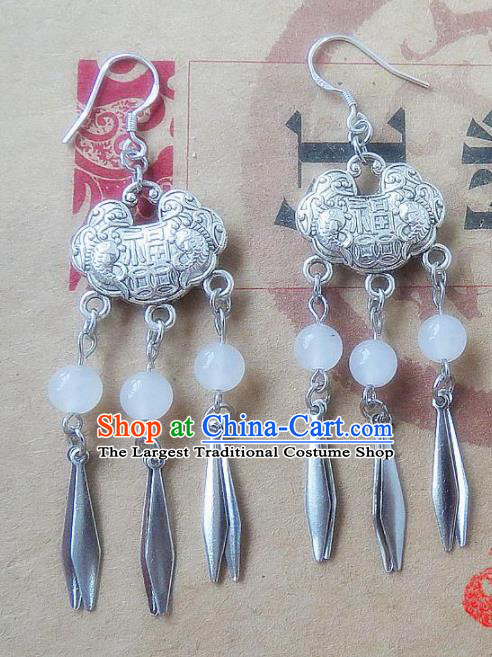 Chinese Ancient Princess Jewelry Accessories Traditional Hanfu Longevity Lock Earrings for Women