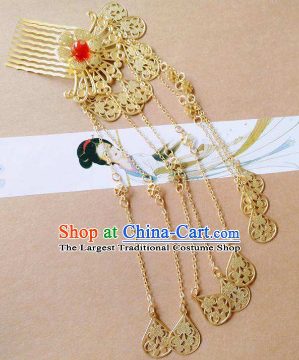 Chinese Ancient Princess Hair Accessories Traditional Hanfu Golden Tassel Hair Comb Hairpins for Women