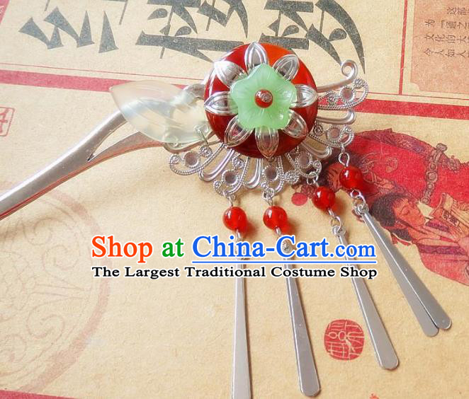 Chinese Ancient Princess Hair Accessories Traditional Hanfu Red Agate Tassel Hairpins for Women