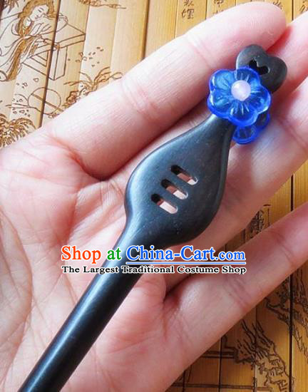 Chinese Ancient Princess Hair Accessories Traditional Hanfu Blue Flower Ebony Hairpins for Women