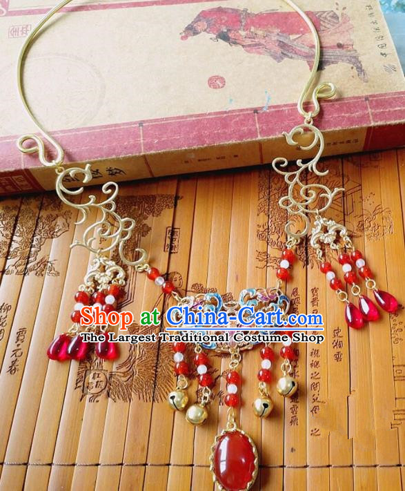Chinese Ancient Bride Hanfu Accessories Traditional Palace Red Agate Necklace for Women