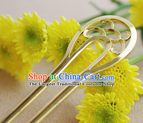 Chinese Ancient Hair Accessories Traditional Palace Golden Hairpins for Women