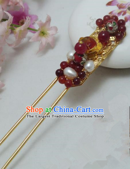 Chinese Ancient Hair Accessories Traditional Palace Red Beads Pearls Hairpins for Women