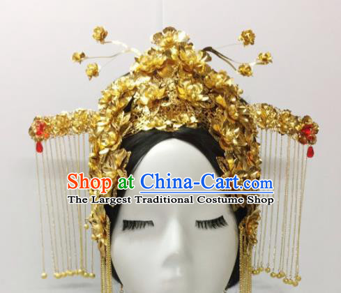 Chinese Ancient Hair Accessories Golden Phoenix Coronet Traditional Palace Hairpins for Women