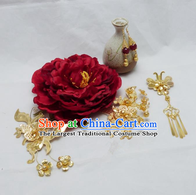 Chinese Ancient Hair Accessories Golden Hair Combs Traditional Palace Hairpins for Women